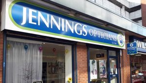 Outside Jennings Opticians Wythenshawe